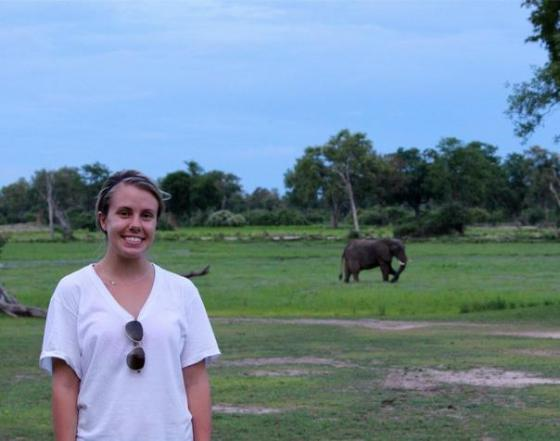 Marie's just hanging with her favorite elephants!